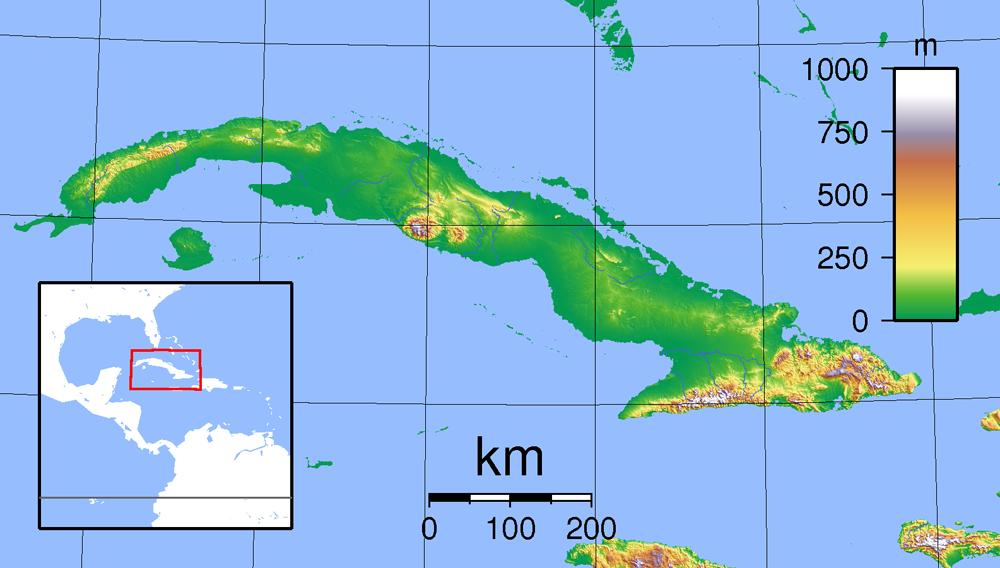 Mapa fizyczna Kuby