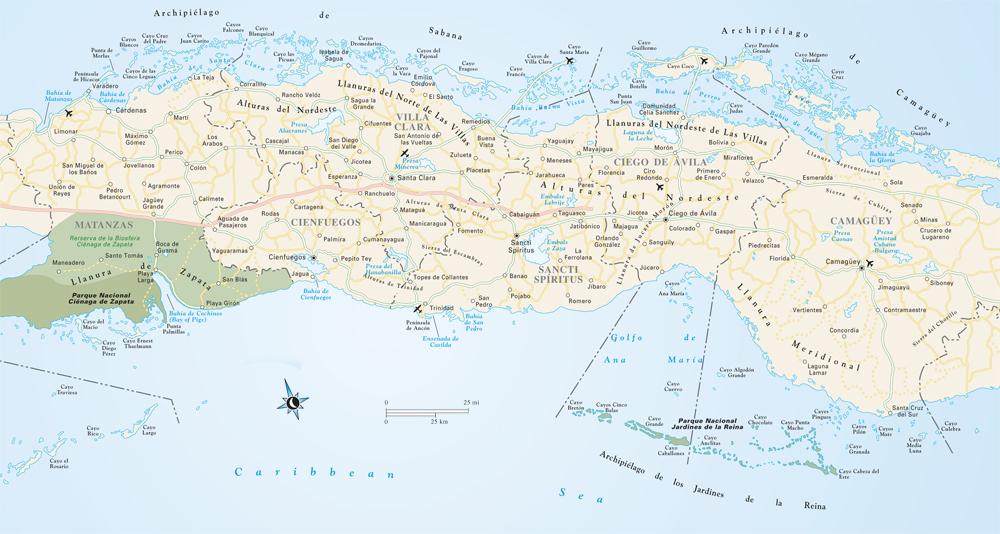 Mapa Środkowej Kuby